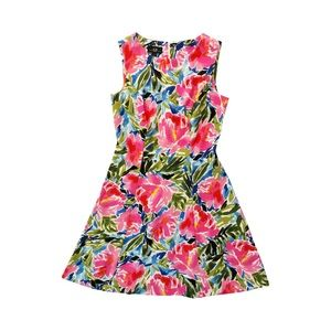AGB Pink Floral Fit and Flare Dress Size 4
